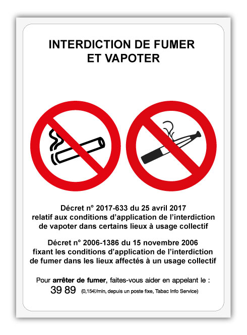 autocollant interdiction fumer